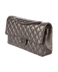 Chanel - Gray Classic Medium Double Flap Bag - Lyst