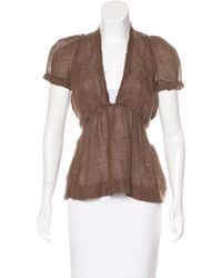 Étoile Isabel Marant - Brown Linen Short Sleeve Top - Lyst