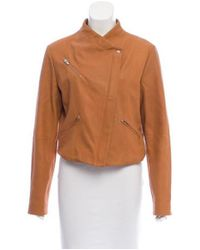 VEDA - Brown Leather Zip-up Jacket - Lyst
