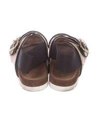 MSGM - Pink Tweed Slingback Sandals - Lyst