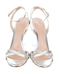 Gianvito Rossi - Metallic Leather Sandals Silver - Lyst