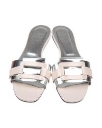 Roger Vivier - Metallic Patent Leather Slide Sandals Silver - Lyst