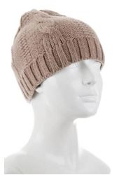Tory Burch - Natural Reva Cable Knit Beanie Beige - Lyst