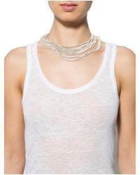 Brunello Cucinelli - Metallic Multistrand Beaded Choker Necklace Silver - Lyst