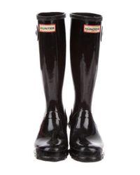 Hunter - Metallic Rubber Rain Boots Black - Lyst