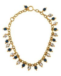 Chanel - Metallic Crystal Necklace Gold - Lyst