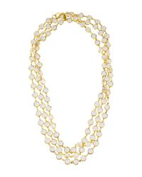 Chanel | Metallic Vintage Crystal Sautoir Necklace Gold | Lyst