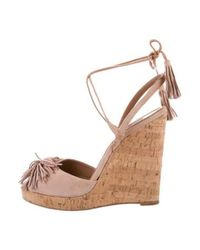 Aquazzura - Purple Suede Wild One Wedges - Lyst