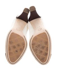 Chanel - Black Leather Cap-toe Pumps - Lyst