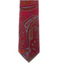 Etro - Red Paisley Print Silk Tie for Men - Lyst