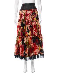 Jean Paul Gaultier - Black Silk Floral Print Skirt - Lyst