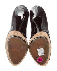 Miu Miu - Black Miu Leather Peep-toe Platform Pumps - Lyst