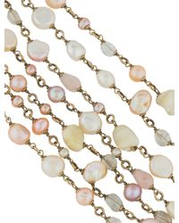 Chanel - Metallic Pearl, Quartz & Rose Multistrand Bracelet Gold - Lyst