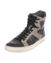 Lanvin - Gray Leather High-top Sneakers Grey for Men - Lyst