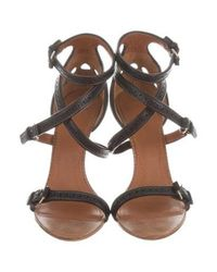 Givenchy - Black Perforated Leather Sandals - Lyst