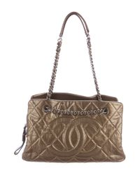 Chanel - Natural Quilted Caviar Timeless Tote Metallic - Lyst
