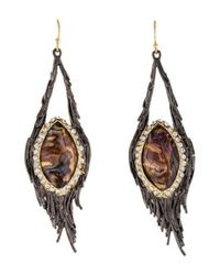 Alexis Bittar - Metallic Crystal & Abalone Nested Feather Drop Earrings Gold - Lyst