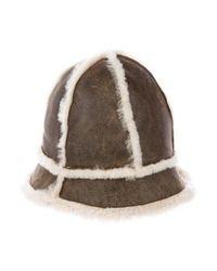 Ugg - Natural Suede Shearling-trimmed Hat Beige - Lyst