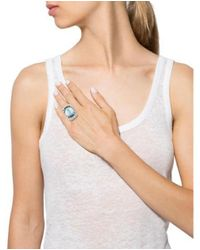 Alexis Bittar - Metallic Deco Lucite & Baguette Crystal Ring Silver - Lyst