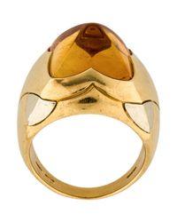 BVLGARI - Metallic Citrine Pyramid Ring Yellow - Lyst