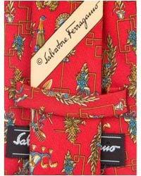 Ferragamo - Red Printed Silk Tie for Men - Lyst