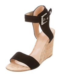 Gianvito Rossi - Black Suede Wedge Sandals - Lyst