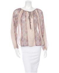L'Agence - Purple Silk Printed Top - Lyst