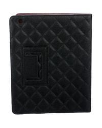 Chanel - Metallic Quilted Caviar Ipad Case Black for Men - Lyst