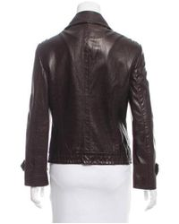 Michael Kors - Brown Leather Double-breasted Jacket - Lyst