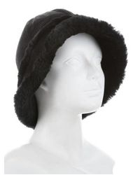 Ugg - Black Suede Shearling Hat - Lyst