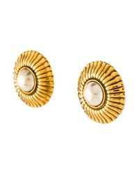 Chanel - Metallic Pearl Medallion Earrings Gold - Lyst