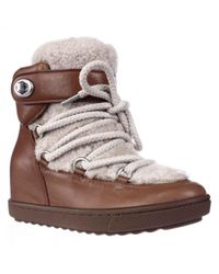 COACH | Natural Monroe Shearling Lace Up Wedge Booties | Lyst