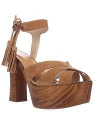 Guess | Brown Prenna Platform Tassel Sandals | Lyst