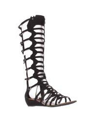 Carlos By Carlos Santana | Black Wavery Knee High Gladiator Sandals | Lyst