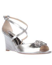 Badgley Mischka | Metallic Cabina Jeweled Wedge Dress Sandals | Lyst