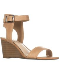 Jessica Simpson - Brown Cristabel Ankle Strap Wedge Sandals - Lyst