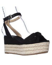 Michael Kors - Black Michael Maxwell Mid Wedge Platform Ankle Strap Sandals - Lyst