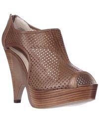 Boutique 9 | Brown Lelaina Platform Peep Toe Perforated Bootie Pumps - Medium Natural | Lyst