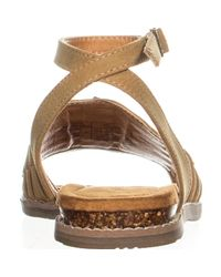 BEARPAW - Brown Amelia Woven Ankle Strap Sandals - Lyst
