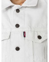 Vetements | White X Levis Reworked Cropped Denim Jacket | Lyst