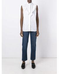Stella McCartney - Blue Ruffle Detail Sleeveless Shirt - Lyst