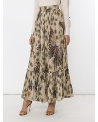 Valentino - Brown Printed Pleated Cotton Maxi Skirt - Lyst