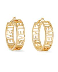 Vetements - Metallic '' Logo Logo Small Hoop Earrings - Lyst