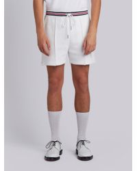 Thom Browne - White Pin Tuck Shorts In Chunky Basket Stitch for Men - Lyst