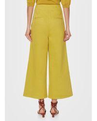 Tibi - Yellow Garment Dyed Twill Cropped Wide-leg Jean - Lyst