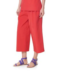 Tibi | Red Stretch Faille Culottes | Lyst