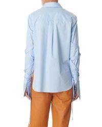 Tibi - Blue Satin Poplin Strappy Shirt - Lyst