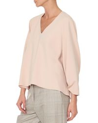 Tibi - Natural Structured Crepe V-neck Shirred Sleeve Top - Lyst