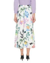Tibi Multicolor Gothic Floral Knit Smocked Waistband Skirt