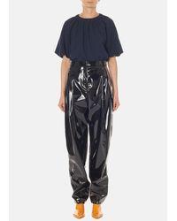 Tibi - Black Patent Sculpted Pleat Pants - Lyst